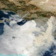 MODIS - 10-25-2003, Los Angles fire smoke